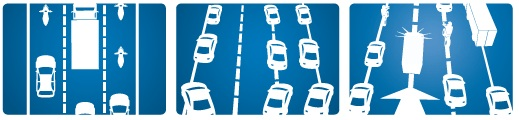 Cesta s tromi a viacerými jazdnými pruhmi