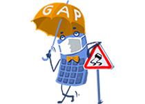 Maskot kalkulačka s rúškom – GAP poistenie
