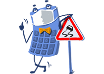 Maskot kalkulačka s rúškom – havarijné poistenie