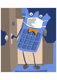 maskot kalkulačky vstupujúci cez dvere