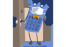 Maskot kalkulačka s rúškom – poistenie domácnosti