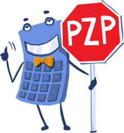 Maskot kalkulačka – PZP