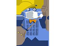 Maskot kalkulačka s rúškom – poistenie zamestnanca
