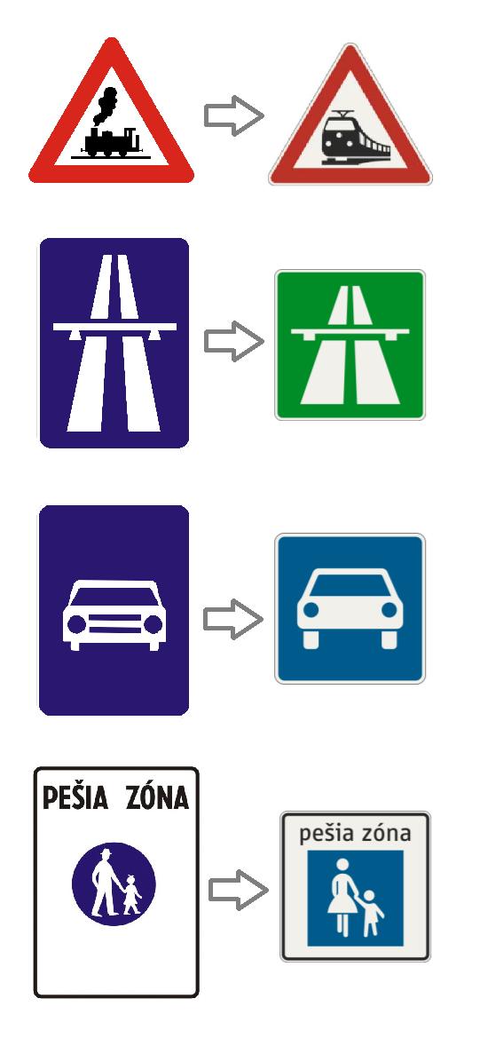 dopravné značky - železničné priecestie, diaľnica, cesta pre motorové vozidlá, pešia zóna